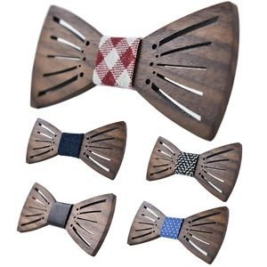 Other - Hand Carved Geometric Wood Butterfly Bow Tie